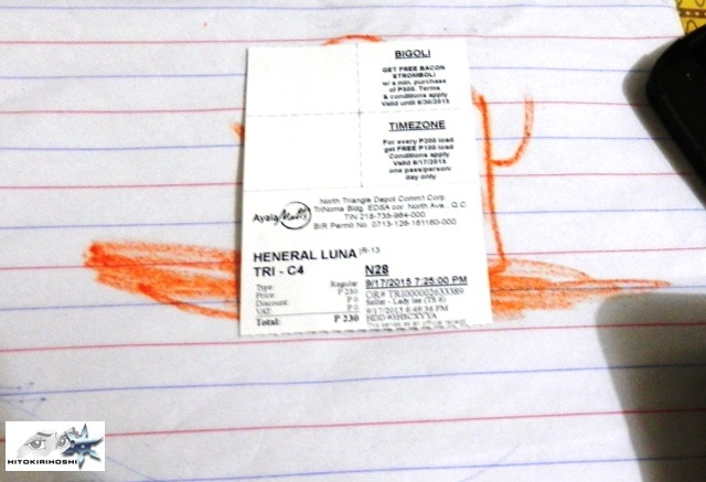movie ticket Heneral Luna