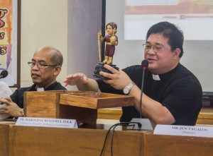 450th Kaplag Executive Director and NCCA Commissioner Rev. Fr. Harold Rentoria, O.S.A. presenting the Niño Sugbuanon during the press conference
